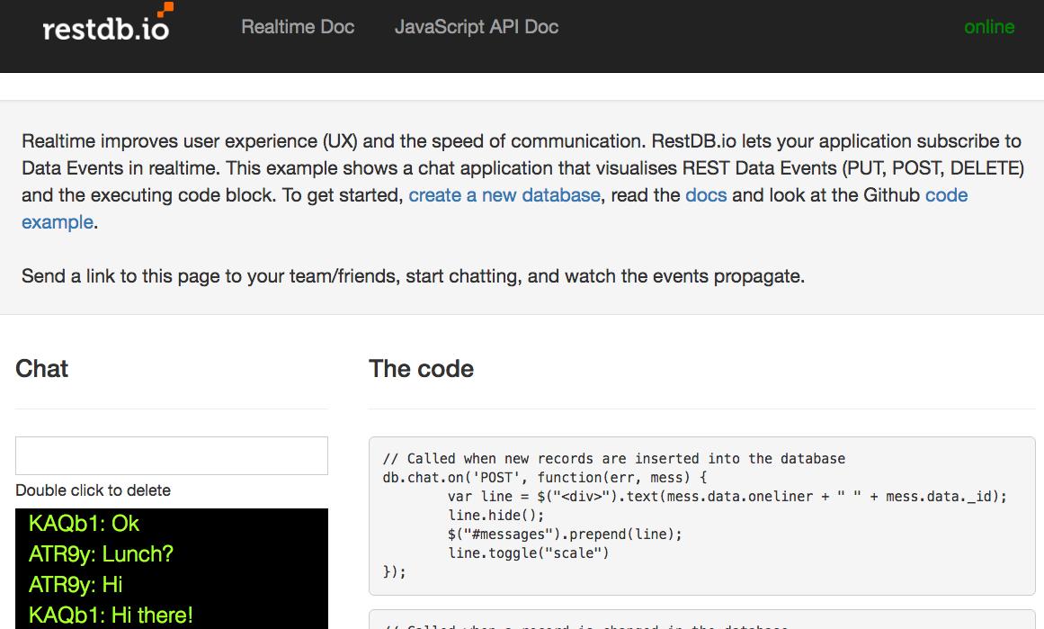 Introducing realtime REST events - restdb io blogpost