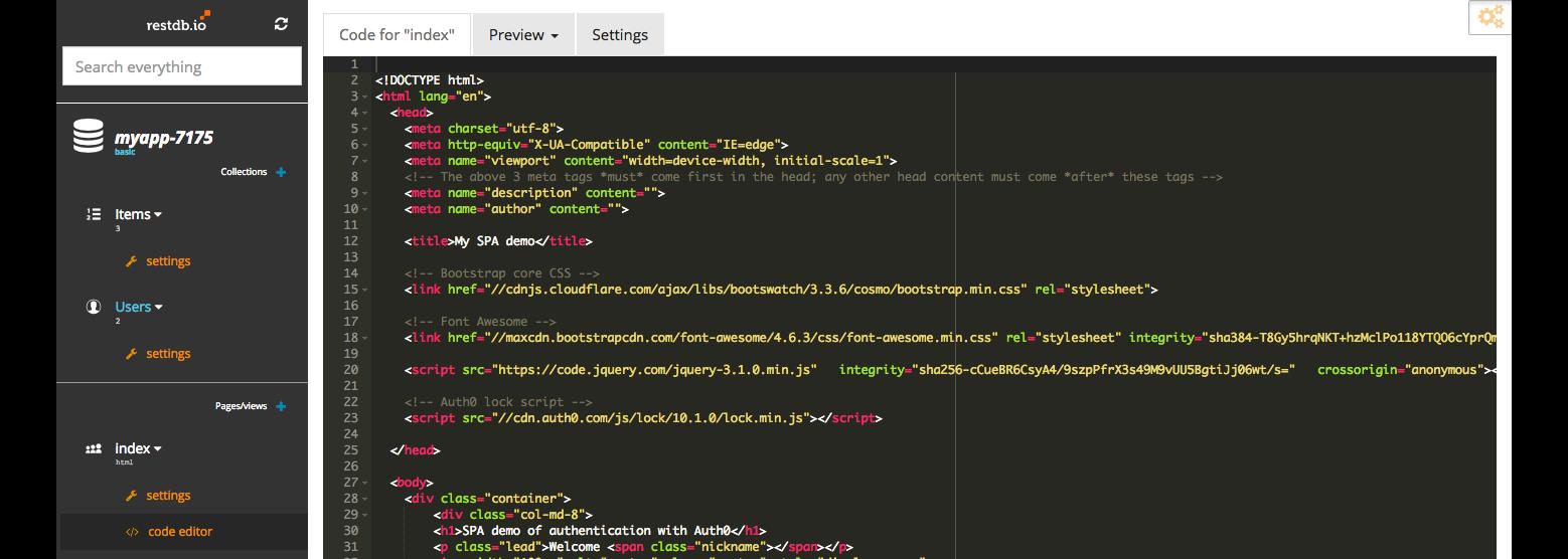 Simple user authentication for web apps - restdb io blogpost