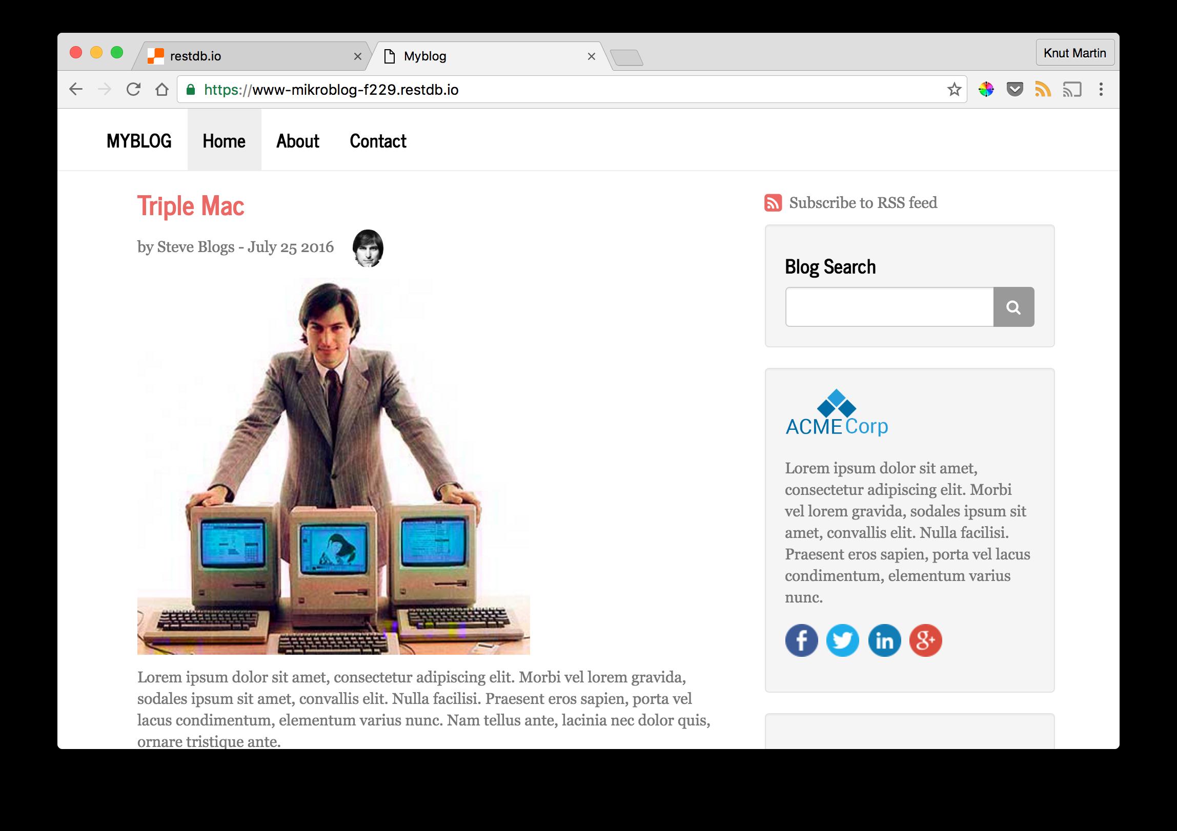 Create a blog site in 1 minute