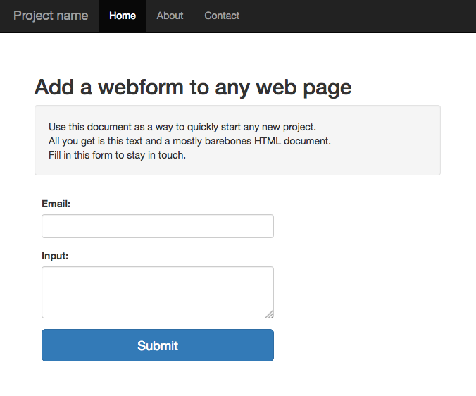 Add a web form to any web page, store data in your database