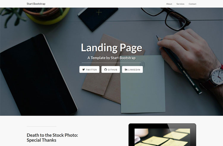 Bootstrap based landing page with dynamic content