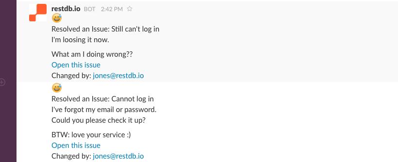 Slack team messages