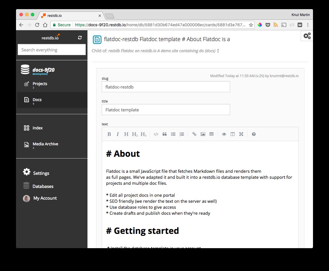 Editing markdown with restdb.io
