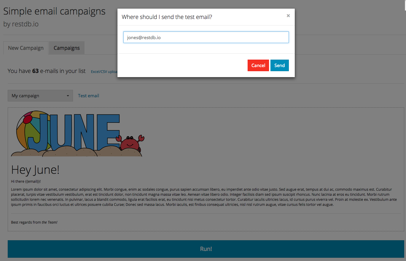 Send test email from campaign