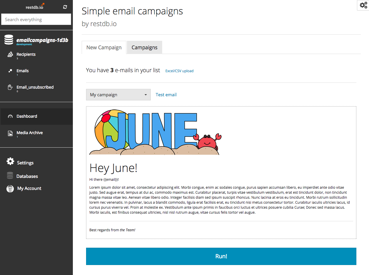 Email campaigns dashboard