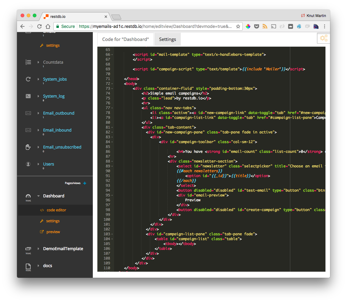Viewing the HTML source for the campaign tool