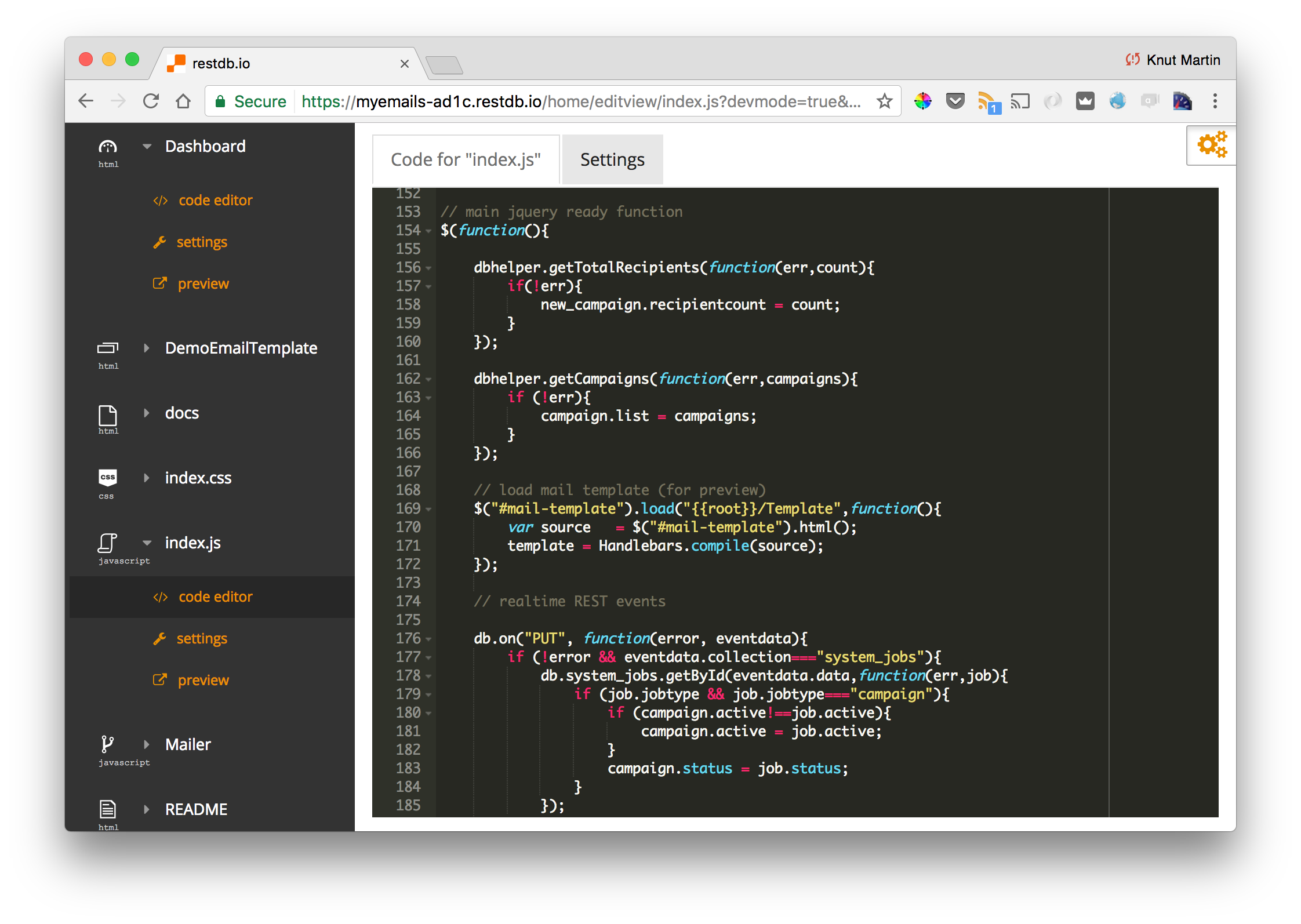 Viewing the Javascript client code