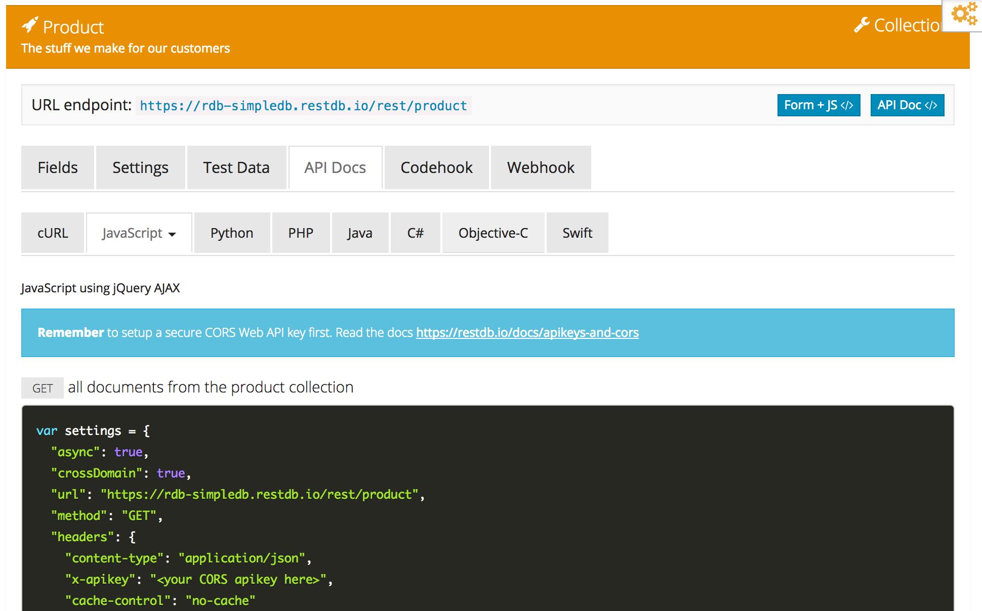 Javascript API with realtime support - Restdb io