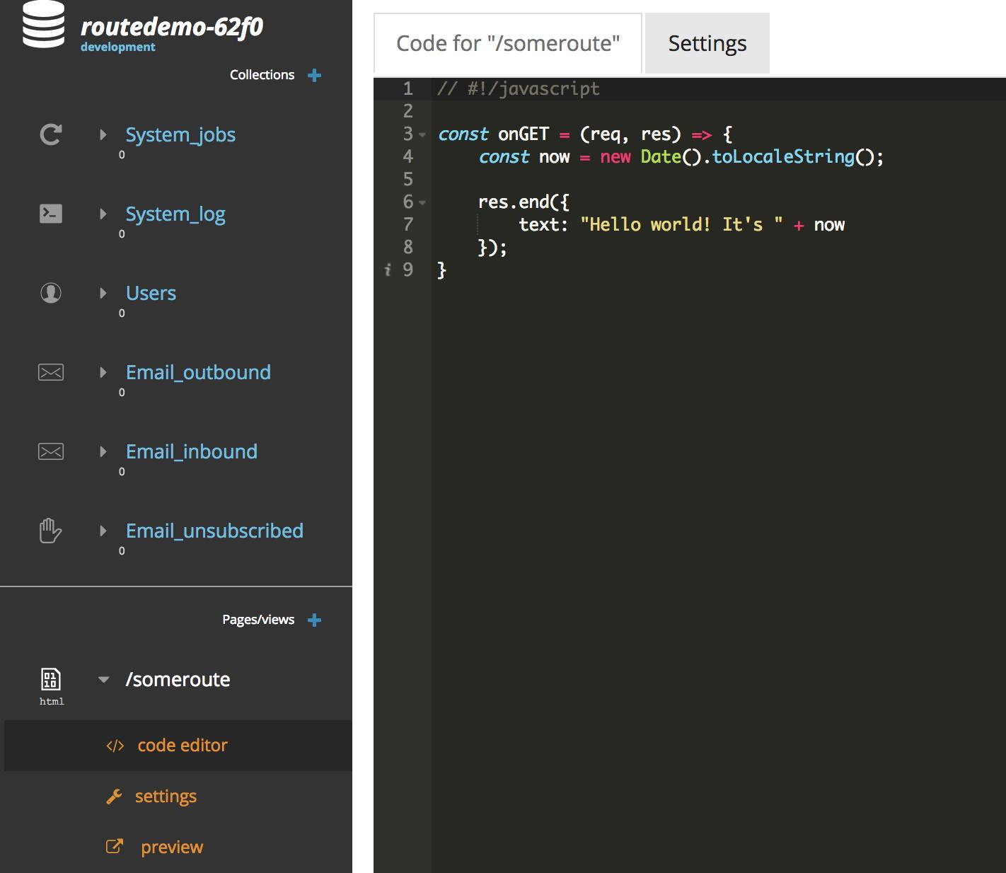 route javascript code