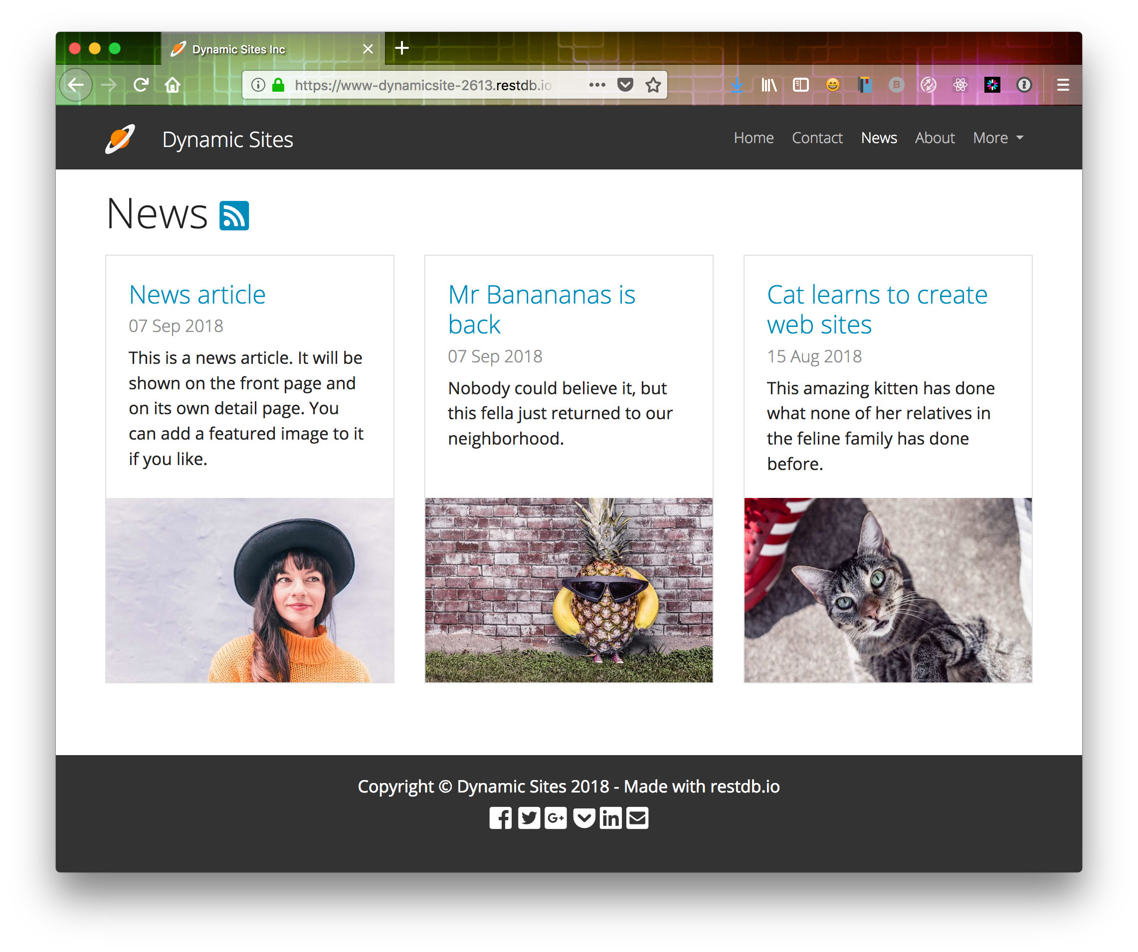 Dynamic Site newsfeed