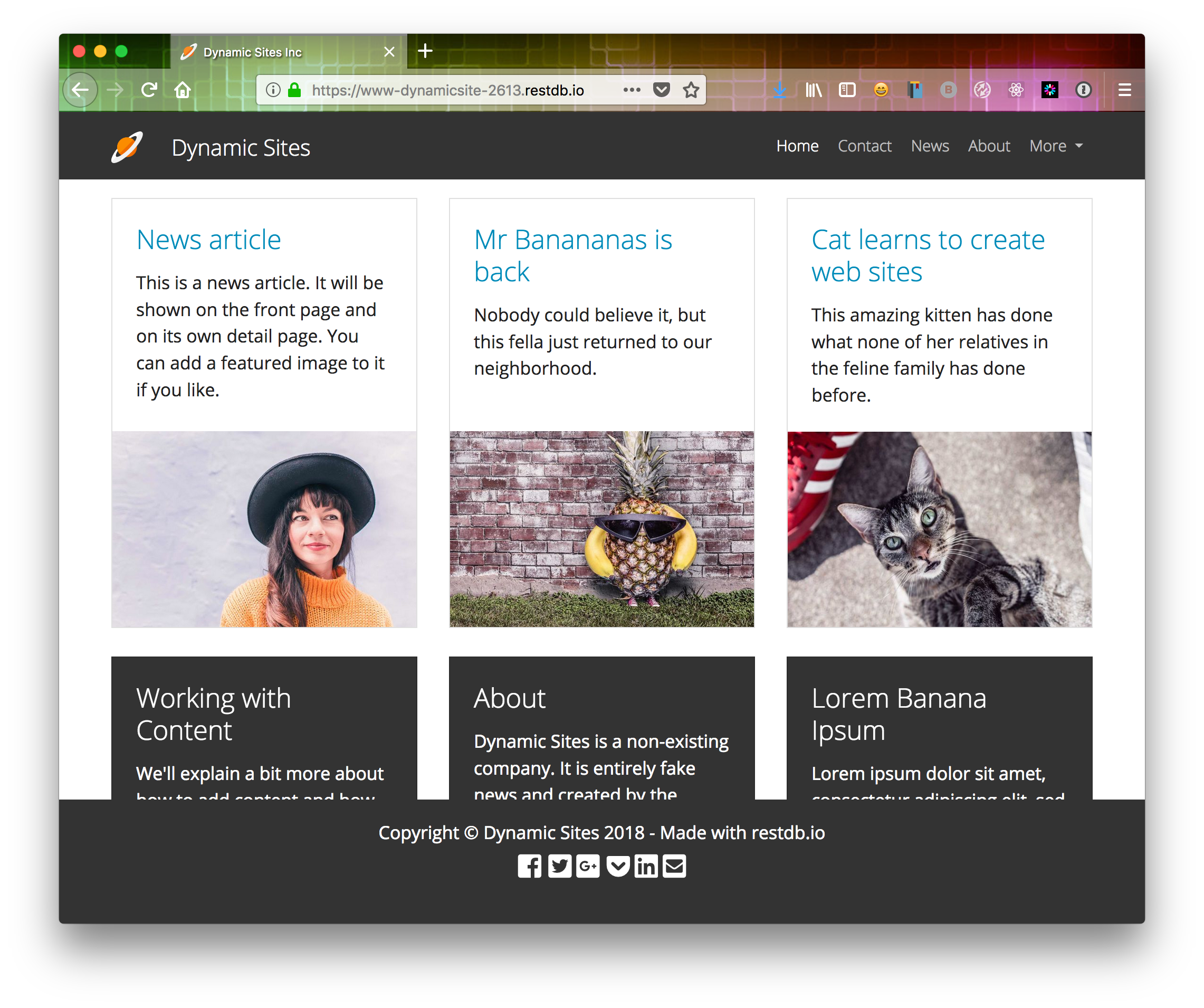 Dynamic Site frontpage scrolled