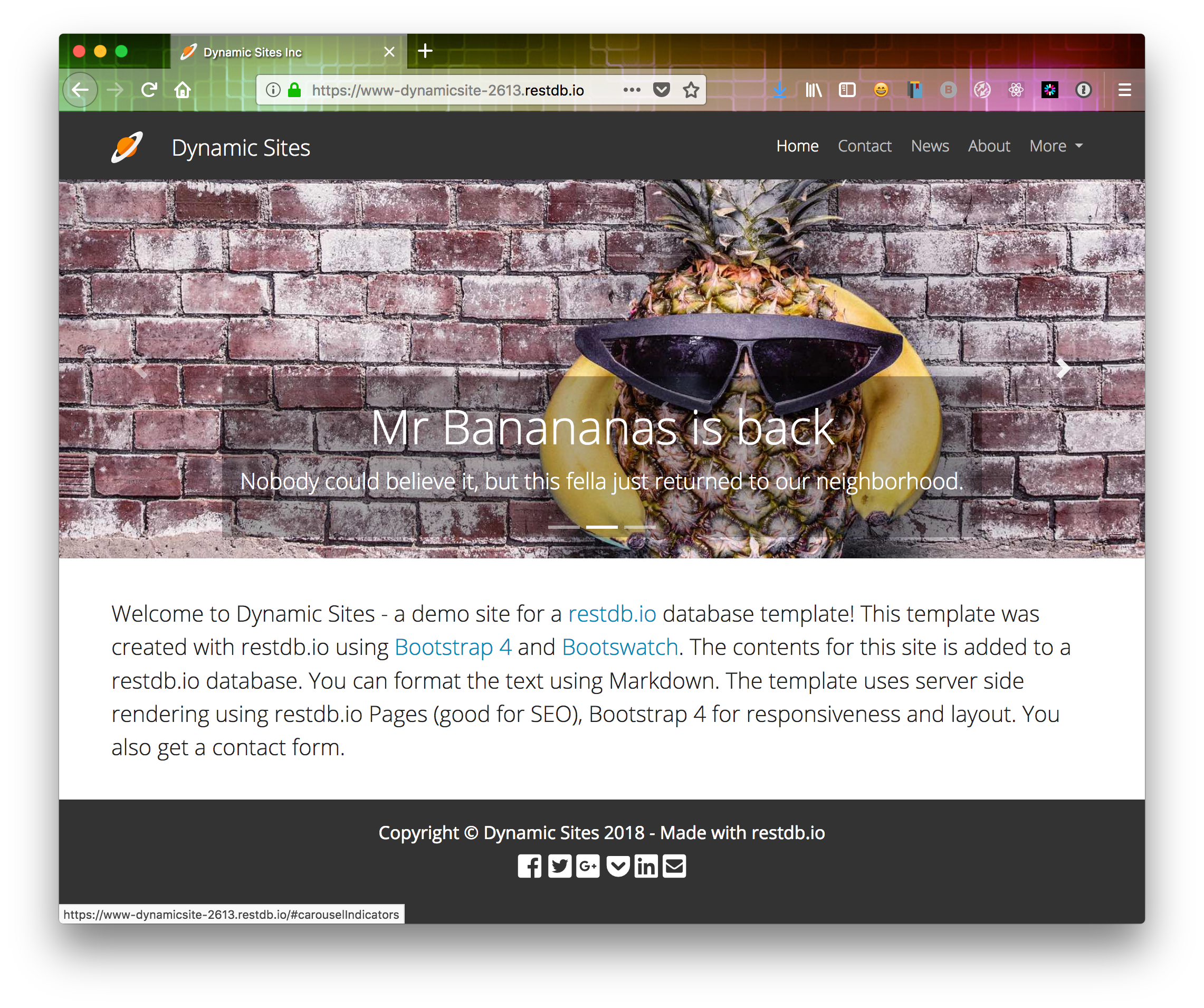 Dynamic Site frontpage