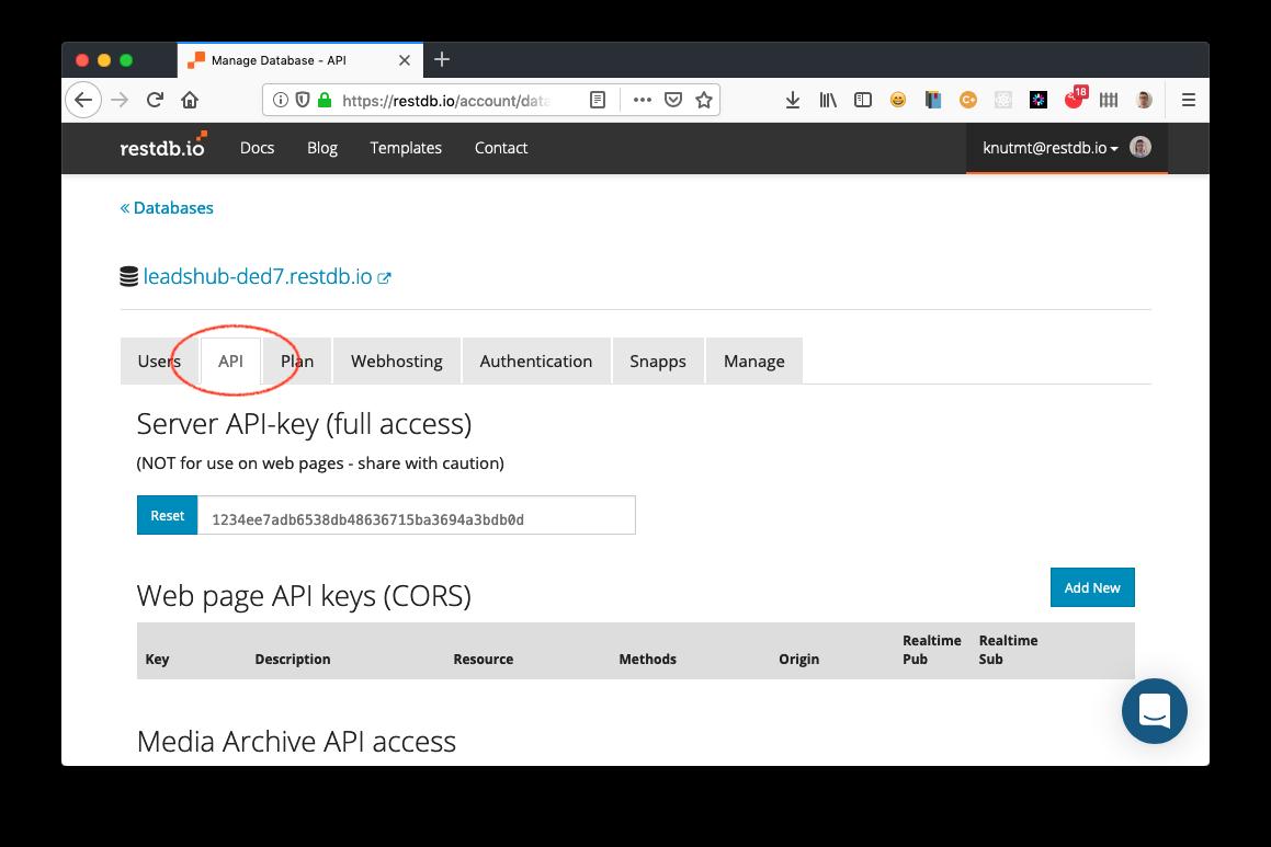 select API tab